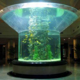 Стъклен аквариум от половин цилиндър, пермакс, чист рибен резервоар