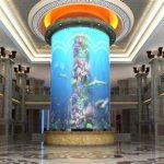 голям цилиндричен акрилен резервоар за риба
